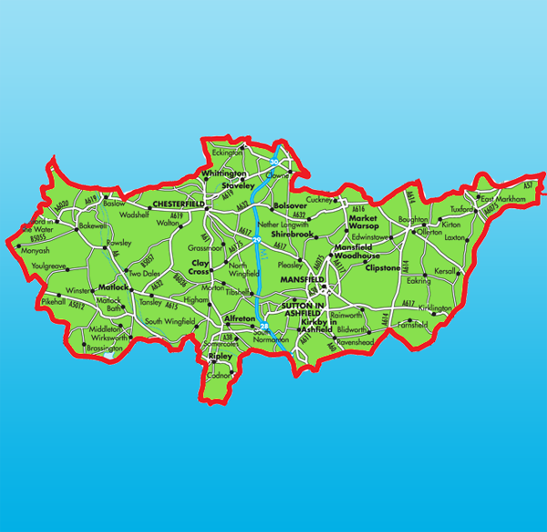 Map of Alfreton Derbyshire